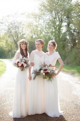 Bouquet de mariée et couronne de fleurs de l'atelier Lilas Wood fleuriste mariage à lyon en Rhône alpes