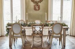 Image représentant une guirlande de table confectionnée par l'atelier floral Lilas wood - fleuriste mariage à lyon en Rhône alpes