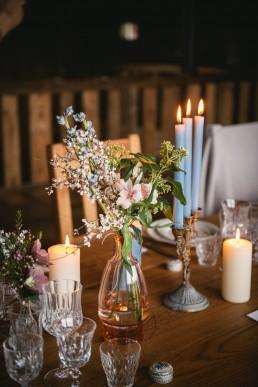 Centre de table fait par l'atelier Lilas Wood fleuriste mariage à lyon en Rhône alpes
