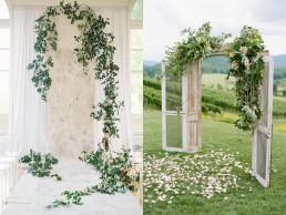 Lilas Wood fleuriste mariage à lyon en Rhône alpes - Inspiration Pinterest - Arche fleurie mariage traditionnelle en bois de forme rectangulaire avec mise en scène