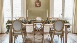 Guirlande de fleurs centre de table de l'atelier Lilas Wood fleuriste mariage à lyon en Rhône alpes